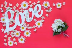 White letters forming word LOVE written Stock Image
