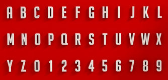 White letters and numbers on red background Stock Photography