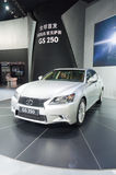 White lexus gs250 sports car at presenter booth Royalty Free Stock Image