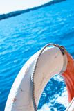 White life buoy on the boat Royalty Free Stock Images