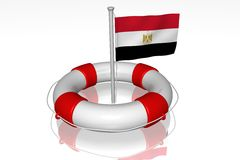 White life buoy with flag of Egypt Stock Photos