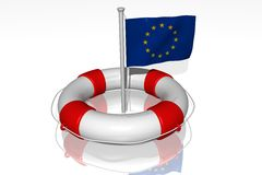 White life buoy with flag of EU. White life buoy with rope isolated and flag of EU Royalty Free Stock Photos