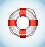White Life Buoy Vector Icon. On blue background Royalty Free Stock Image