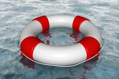 White life buoy in the water Royalty Free Stock Images