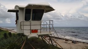 White life guard station on the shore palm beach stock footage
