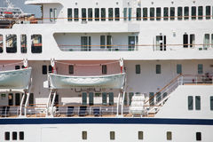 White Lifeboats on Cruise Ship Stock Photos
