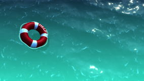 White lifebuoy with red stripes stock footage