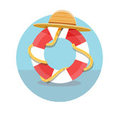 White lifebuoy with red stripes and rope Royalty Free Stock Image