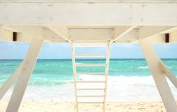 White Lifeguard house on a beach Stock Photo