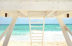 White Lifeguard house on a beach Stock Photo