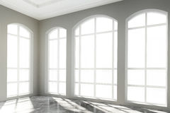 White light big room with concrete floor Royalty Free Stock Photography
