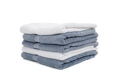 White and light blue or gray towels on white Royalty Free Stock Photos