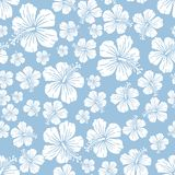 White on light blue random hibiscus flower seamless repeat pattern background. Two colour random hibiscus flower seamless repeat pattern background. Could be Stock Images