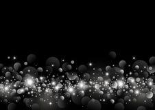 White light bokeh on black background design Royalty Free Stock Image