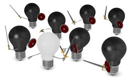 White light bulb fighting against many black ones with swords and shields. On white Royalty Free Stock Images