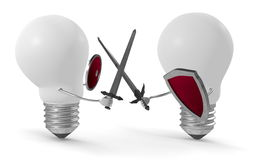 White light bulbs fighting duel with swords and shields. Two white light bulbs fighting duel with swords and shields isolated on white Royalty Free Stock Photos