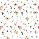 White light cartoon valentine pattern. Cute cartoon valentine pattern with different elements about love including love letters, roses, glasses, notes on a white Royalty Free Stock Image