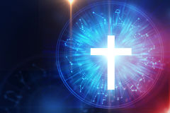 White light cross on sacred geometry element background. White light cross religion symbol on sacred geometry element background.Alchemy, religion, philosophy vector illustration