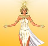 The White Light of Egypt. An artistic depiction of an Egyptian Goddess of light.  Dressed in white with a gold headdress and necklace she has symbolic lights Royalty Free Stock Photo