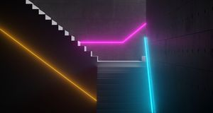 White Lightened Stairs In Different Directions With Futuristic V. Ibrant Neon Tube Lights And Concrete Cement Walls In Dark Room 3D Rendering Illustration Stock Photos