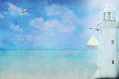 White Lighthouse. Lighthouse with sailboat and seagulls stock illustration