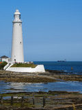 White Lighthouse. St Mary's Lighthouse, Whitley Bay, Northumberland stock photo