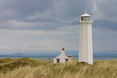 White lighthouse. In Nature Reserve on Walney Island Royalty Free Stock Image