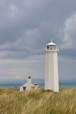 White lighthouse. In Nature Reserve on Walney Island Stock Images