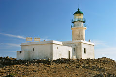 White lighthouse. On the background of blue sky stock photo
