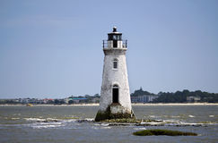 White lighthouse. Small white lighthouse out in the water of a bay Stock Image