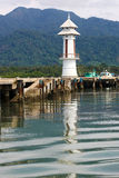 White lighthouse in bay on Koh Chang island Royalty Free Stock Photography