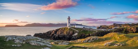 White Lighthouse, Fanad Head, Donegal, Ireland. Panoramic view of Fanad lighthouse in Donegal. Fanad Head lies on the north coast of County Donegal between Lough Stock Photography