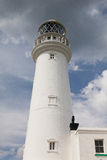 White lighthouse on Flamborough Head in England. Royalty Free Stock Photos
