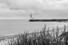 White lighthouse in Gardur iin iceland Royalty Free Stock Image