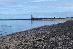 White lighthouse in Gardur iin iceland Stock Photography