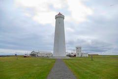 White lighthouse in Gardur iin iceland Stock Image