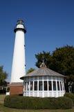 White Lighthouse and Gazebo Under Blue Skies Royalty Free Stock Photography