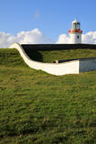 White Lighthouse on a green hill, Ireland Royalty Free Stock Image