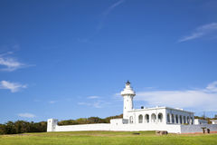 White lighthouse in kenting national park . taiwan. Beautiful landscape royalty free stock images