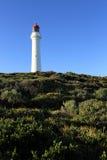 White lighthouse. A white lighthouse on a mountain top Stock Image