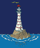 White Lighthouse in the Night Stock Image