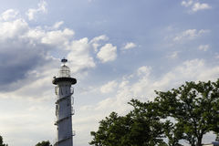 White lighthouse at river bank, Vienna. Royalty Free Stock Images