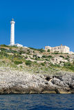 The white lighthouse of Santa Maria di Leuca, south Italy Royalty Free Stock Image