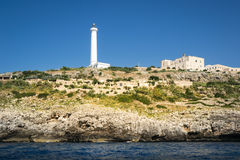 The white lighthouse of Santa Maria di Leuca, south Italy Royalty Free Stock Images