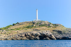 The white lighthouse of Santa Maria di Leuca, south Italy Stock Photos