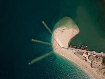 White lighthouse top, aerial picture, high above the sea level, Lefkada Greece royalty free stock image