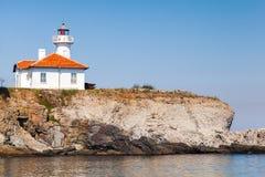 White lighthouse tower on St. Anastasia Island. Black Sea, Bulgaria Stock Photography