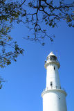 White lighthouse with tree canopy and blue sky - Series 2 Stock Images