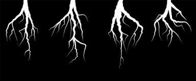 White lightning bolt zig zag on black background. Thunderstorm strike, electric shock. Tree roots. Branch tree. Vector illustration Stock Images