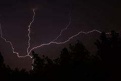 White lightning during summer storm Royalty Free Stock Image